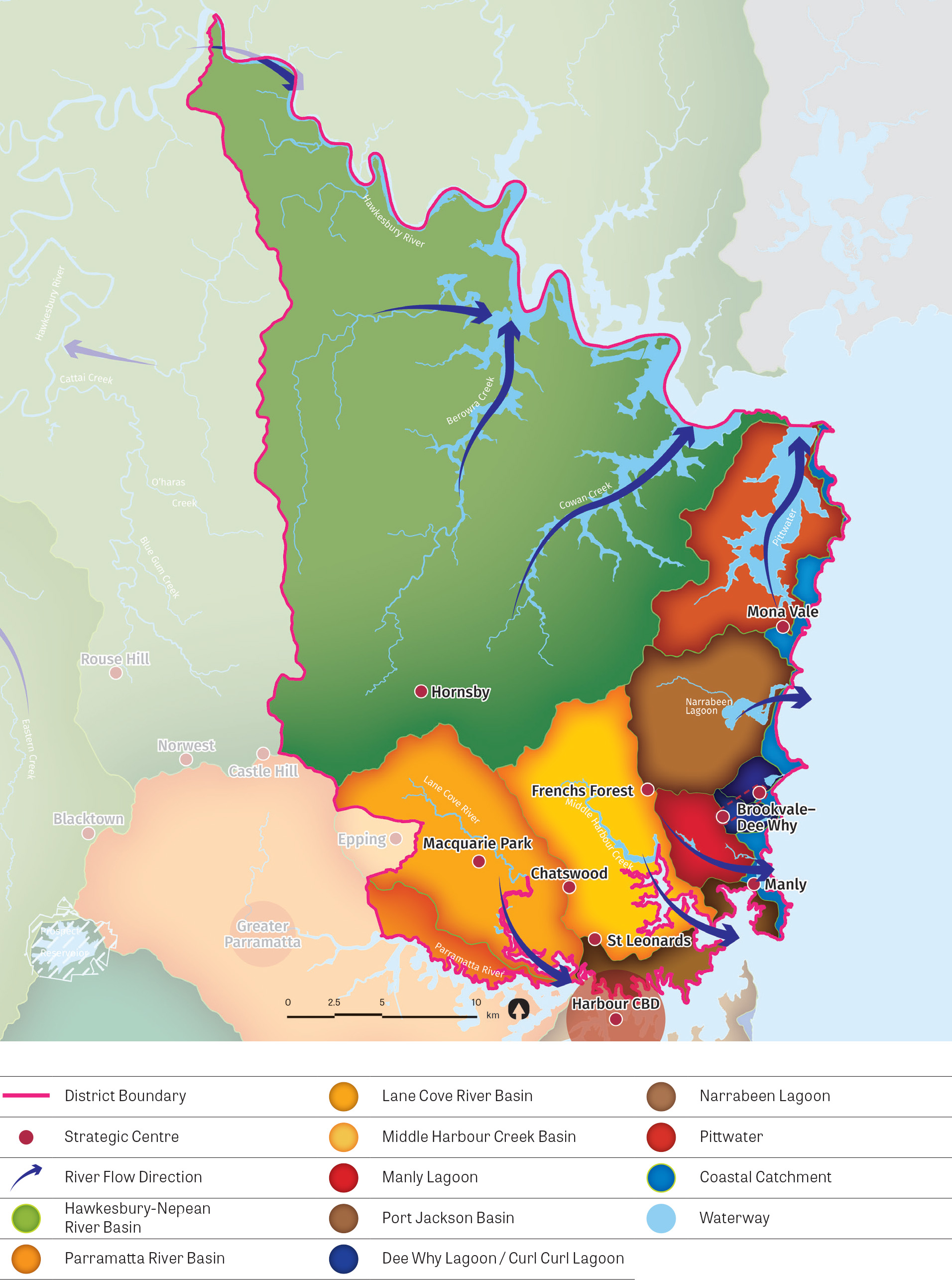 A stylised map of the district showing the river catchments and waterways river flow direction, the coastal catchment as well as District boundary and strategic centres.