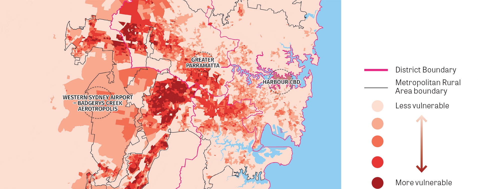 A stylised map focussed on the main urban areas in the Greater Sydney Region showing areas which are either more, or less, vulnerable to heatwaves.