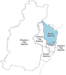 Greater Sydney Map with North District highlighted