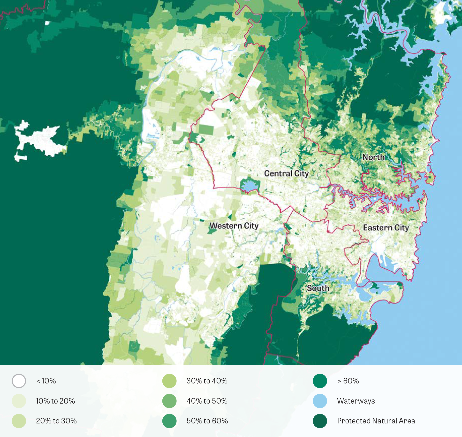 Greater Sydney and district distribution of tree canopy cover 2016