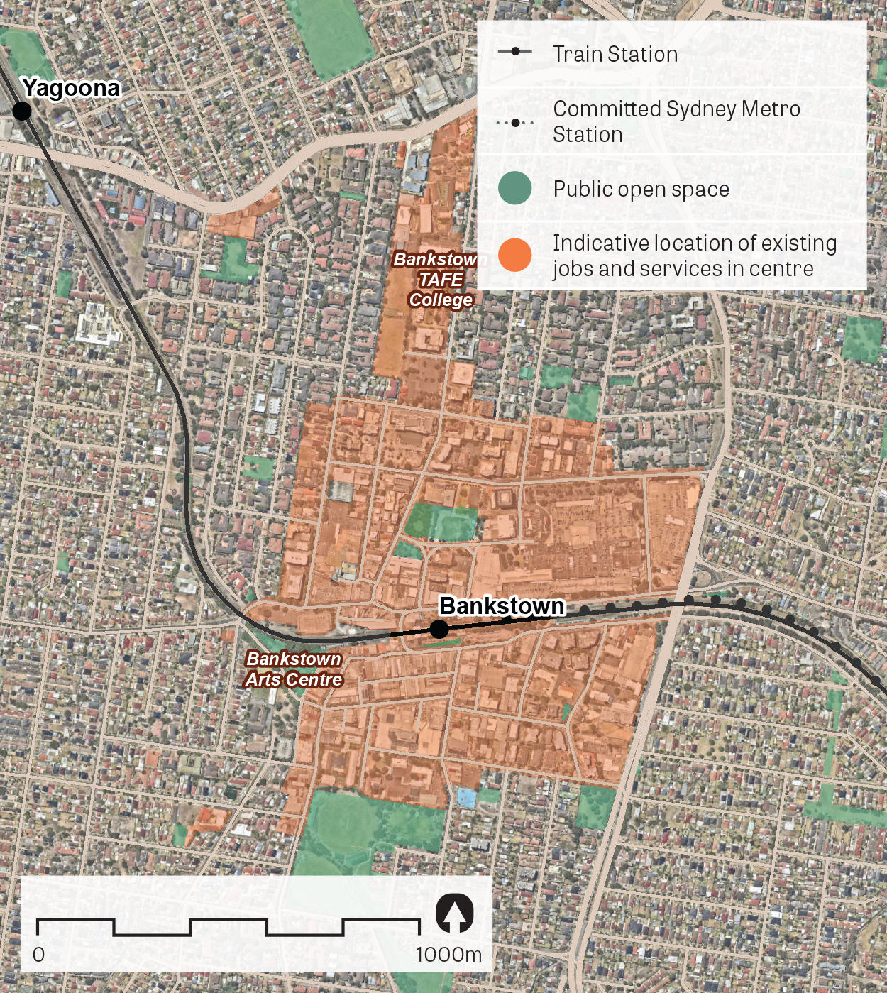 An aerial image of Bankstown showing the principal areas containing jobs and services.