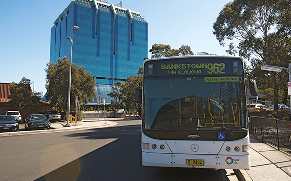 A photograph of a bus at Bankstown bus station