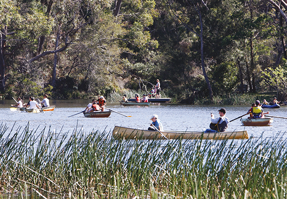 A photograph of people enjoying canoeing at Royal National Park.