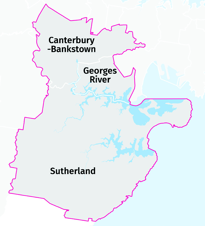 A map showing the boundary of the district and the boundaries of the three different local government areas within the district.