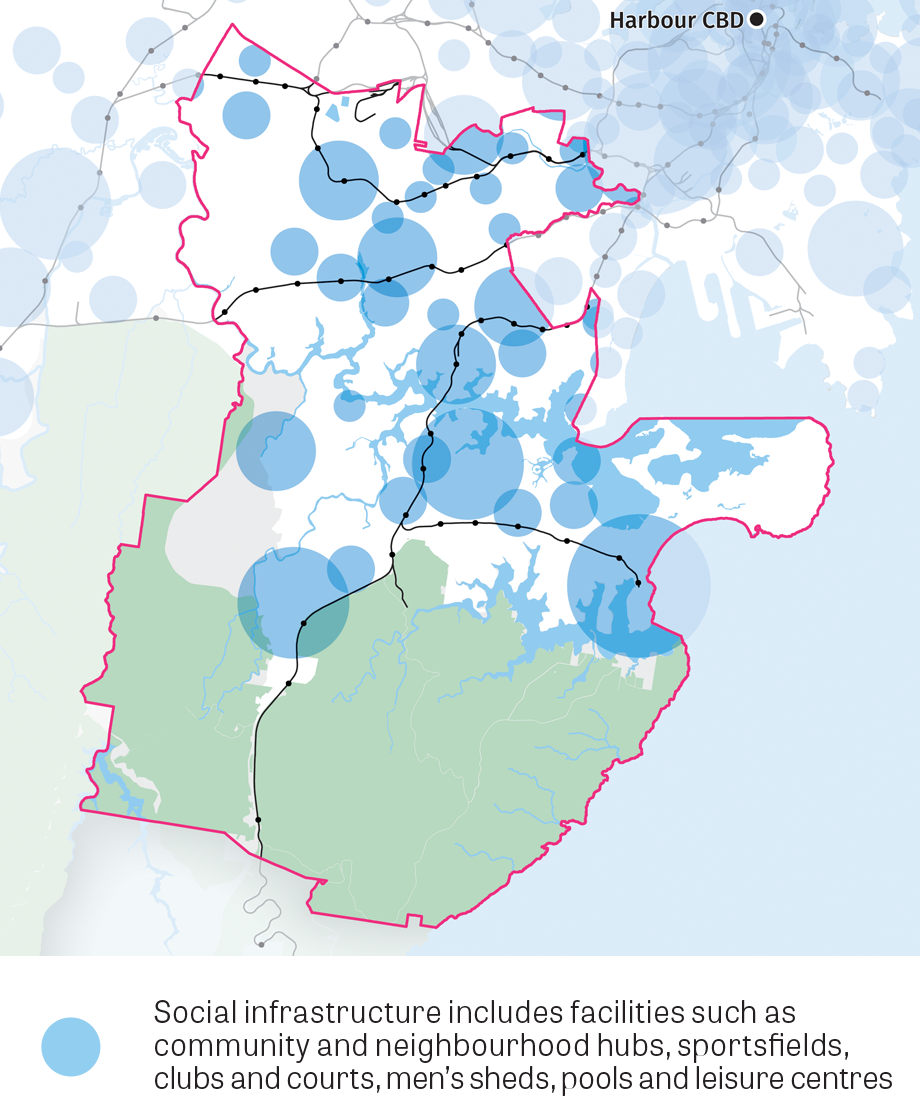 Map of Social infrastructure includes facilities