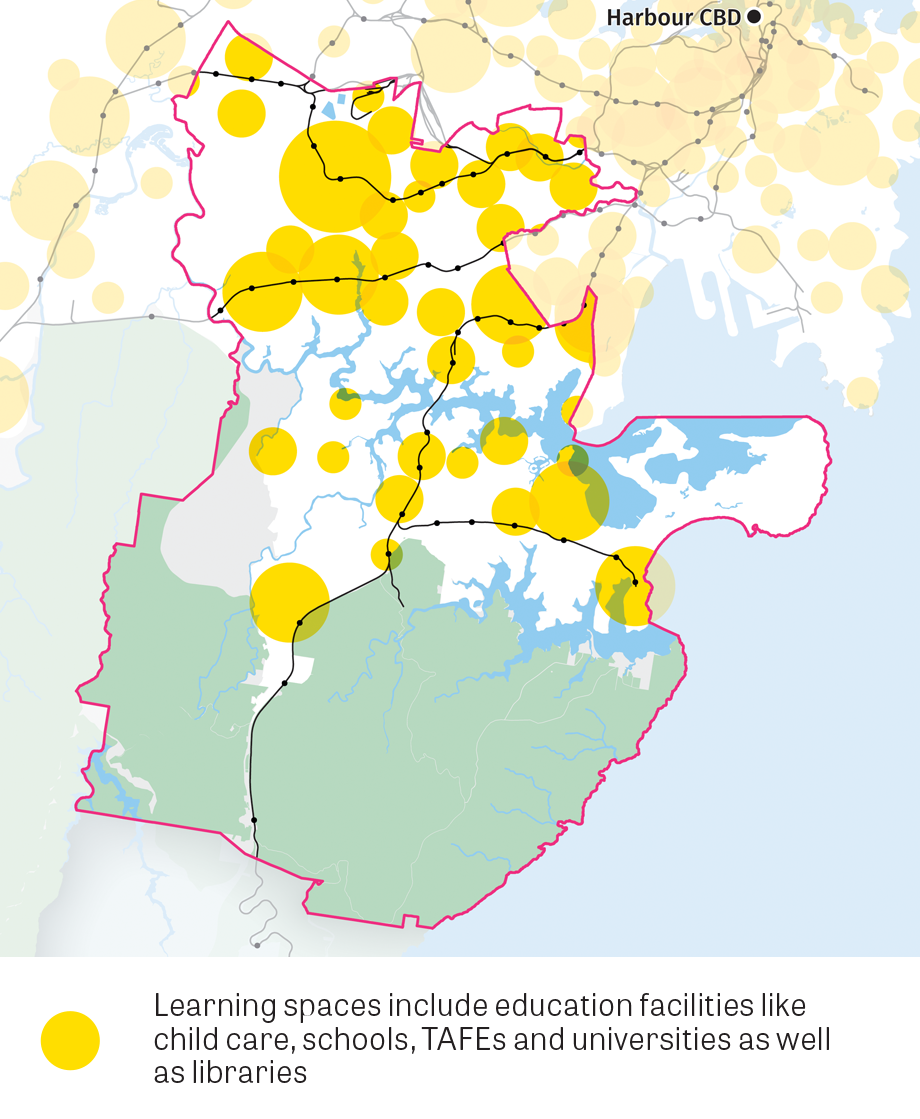 Map of Learning spaces include education facilities