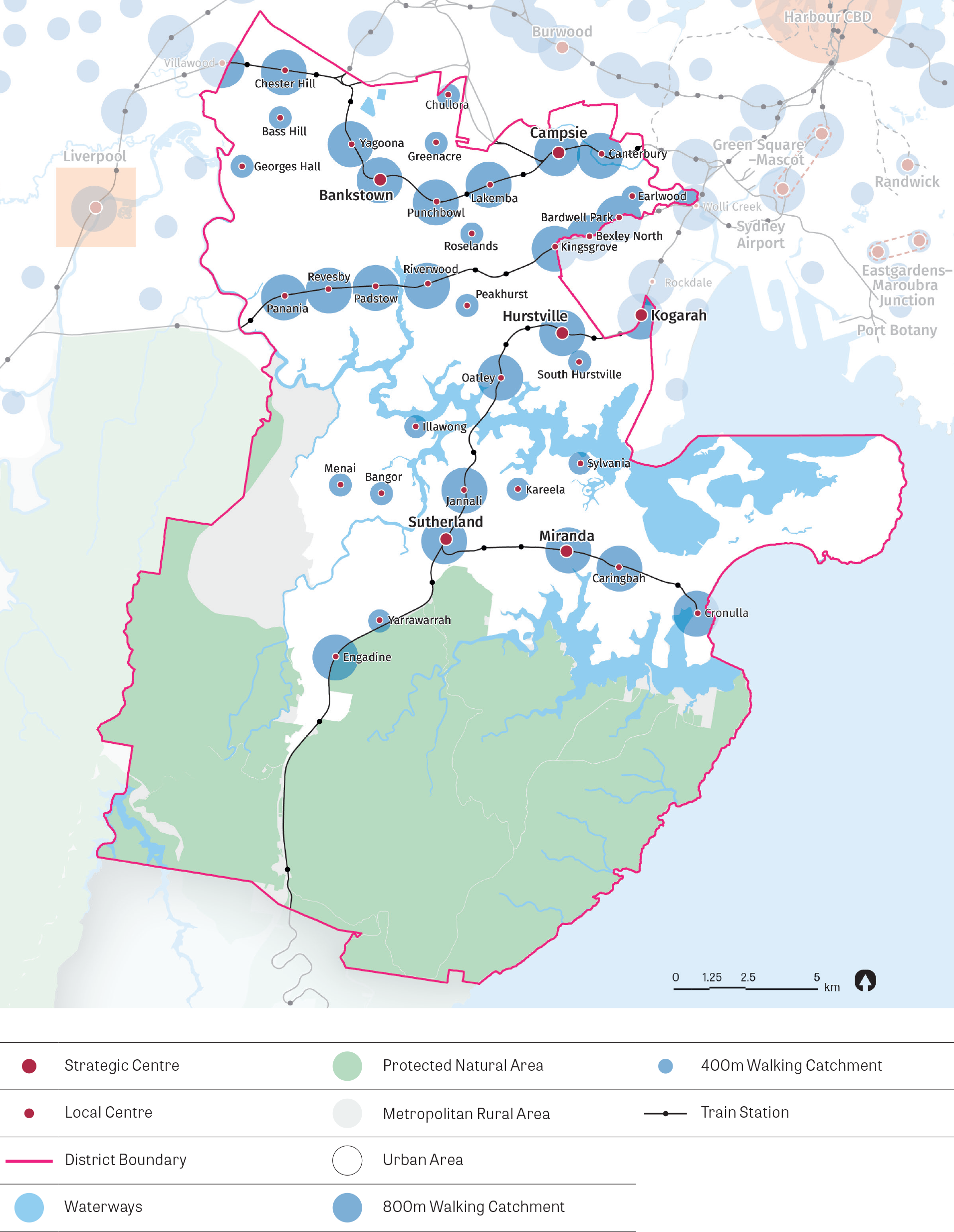 A map showing the strategic and local centres within the south district and their respective 800m and 400m walking catchments. The map also shows waterways, protected natural areas, metropolitan rural areas, urban areas and train stations.