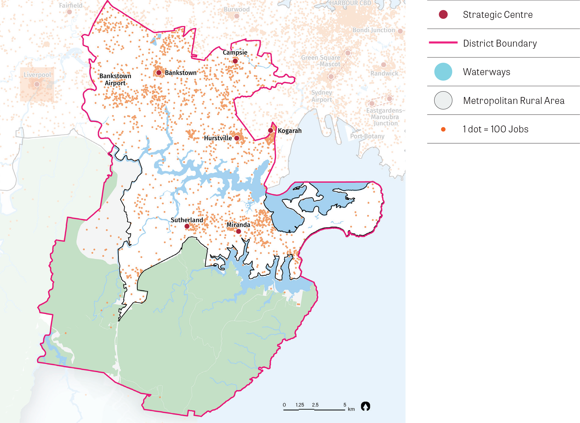 A map showing job density within the South District. The highest job concentrations are near Kogarah, Bankstown, Hurstville, Miranda, Sutherland and Campsie. The map also shows waterways, protected natural areas and metropolitan rural areas.