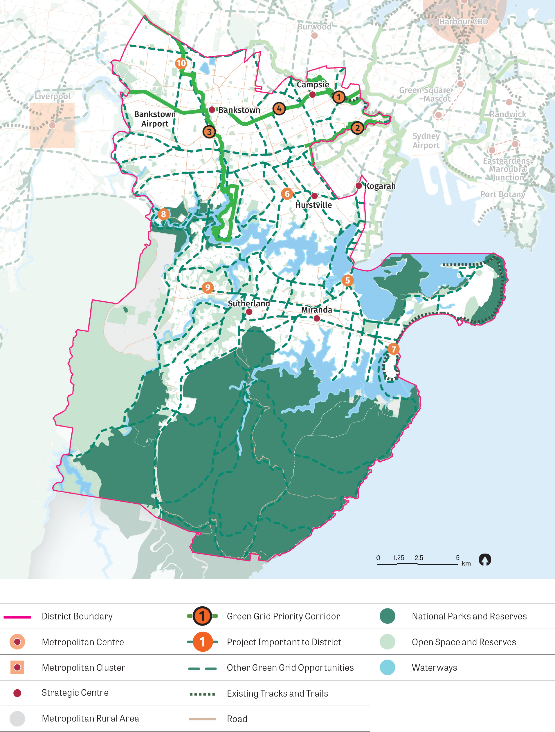 A stylised map showing the green grid opportunities in the district. The map shows the green grid priority corridors, future green grid opportunities, priority corridors and projects important to the district.