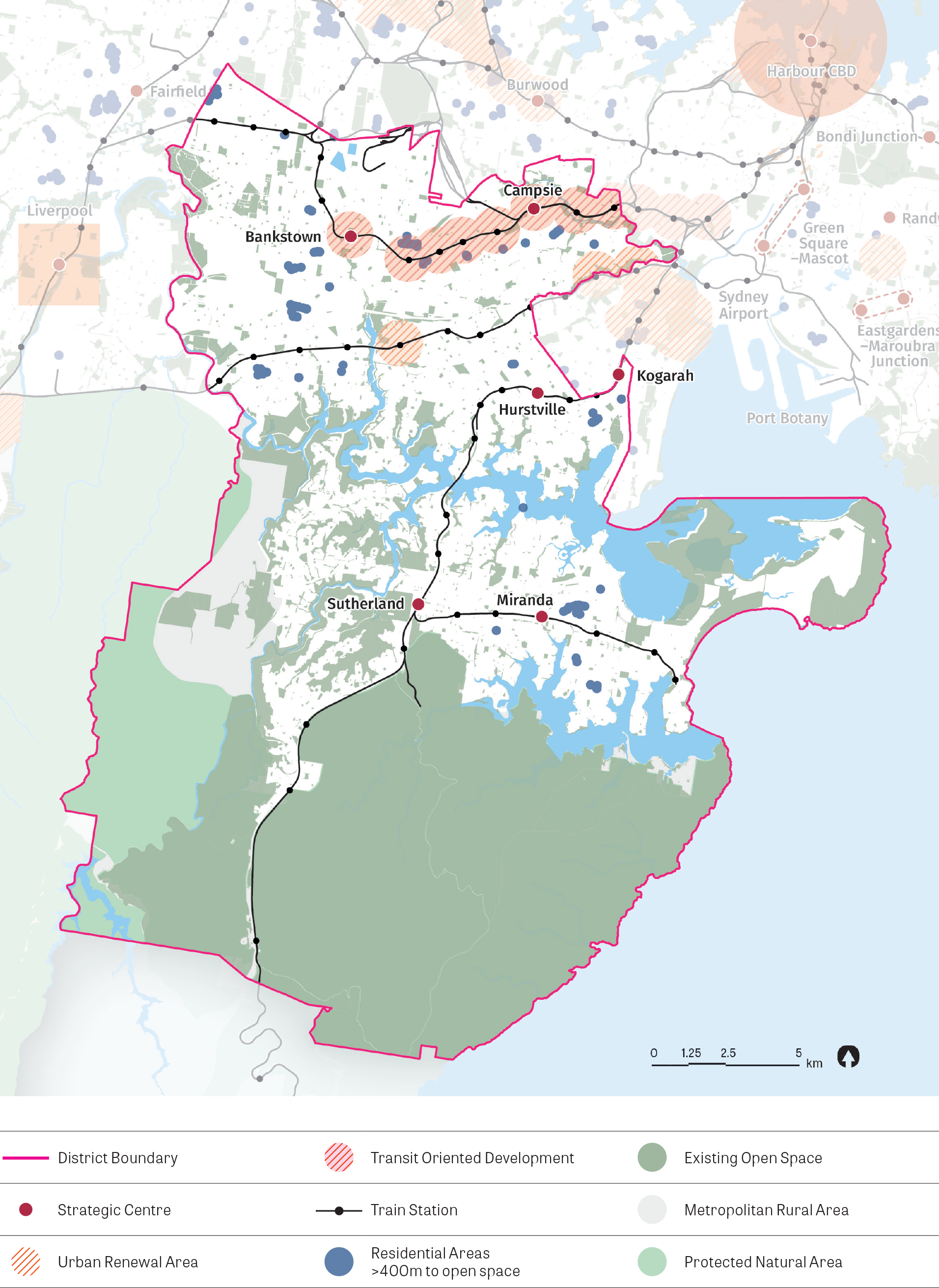 Map showing residential areas greater than 400m to open space, strategic centres, infill priority precinct/urban renewal corridors, transit orientated development, train stations, existing open space, metropolitan rural areas and protected natural areas