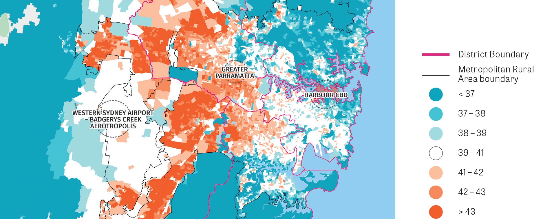 A stylised map focussed on the main urban areas in the Greater Sydney Region showing the land surface temperature during a heatwave.