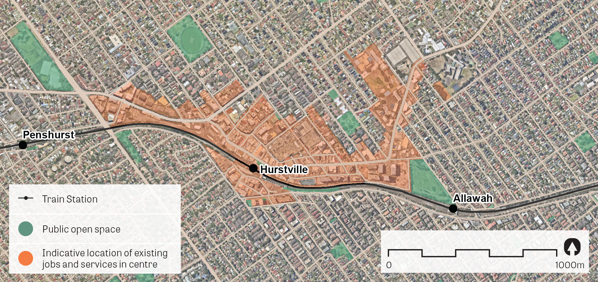 An aerial image of Hurstville showing the principal areas containing jobs and services.