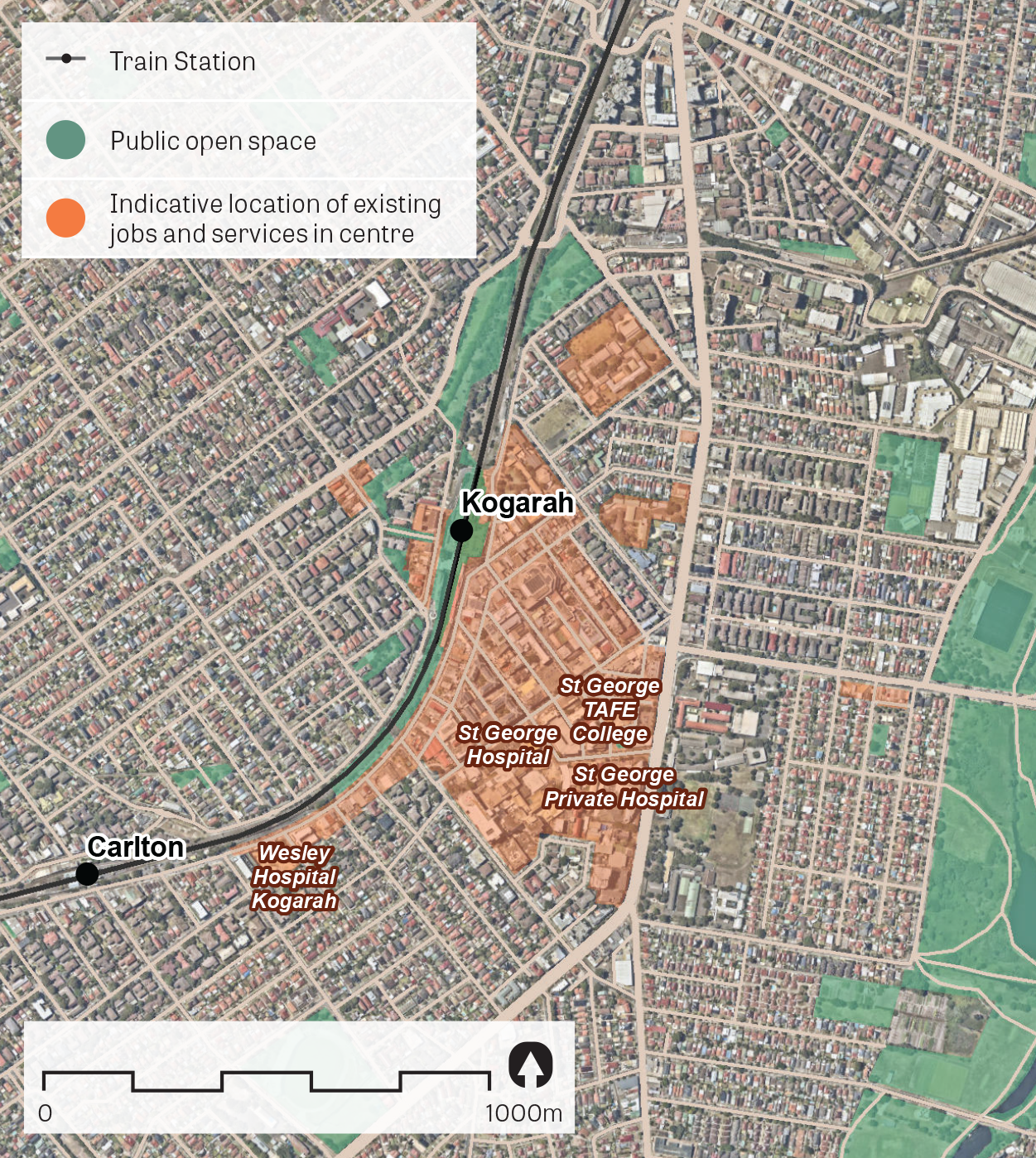 An aerial image of Kogarah showing the principal areas containing jobs and services.