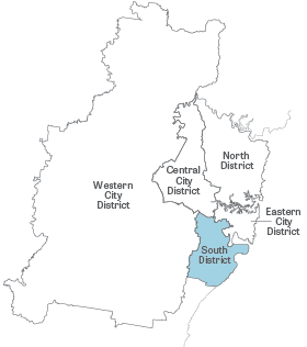 Greater Sydney Map with South District highlighted