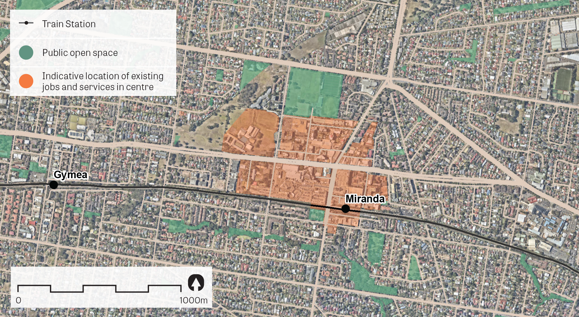 An aerial image of Miranda showing the principal areas containing jobs and services.