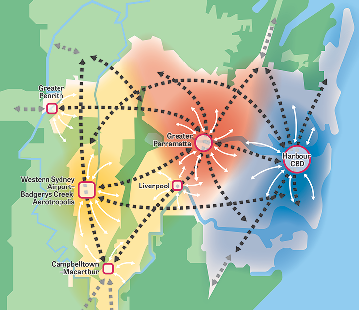Stylised map showing the three cities of Greater Sydney, featuring Metropolitan centres and clusters, transport corridors, waterways and natural and metropolitan areas.