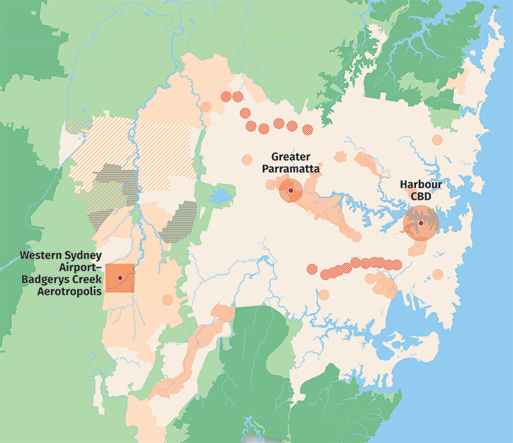 Map showing urban areas, land release areas, renewal areas and investigation areas relating to housing in the 3 cities of Greater Sydney.