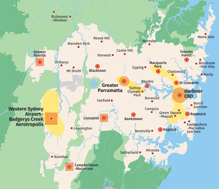 Map showing economic corridors, metropolitan centres and clusters, health and education precincts and strategic centres and the Western Sydney Employment Area.