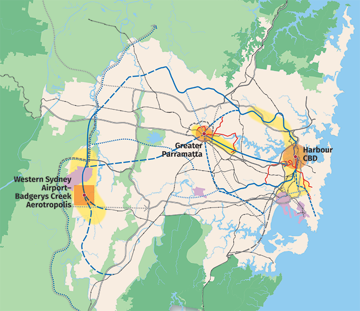 Map showing motorways, train links and gateways as well as train link, road and freight rail investigation areas in the 3 cities of Greater Sydney..