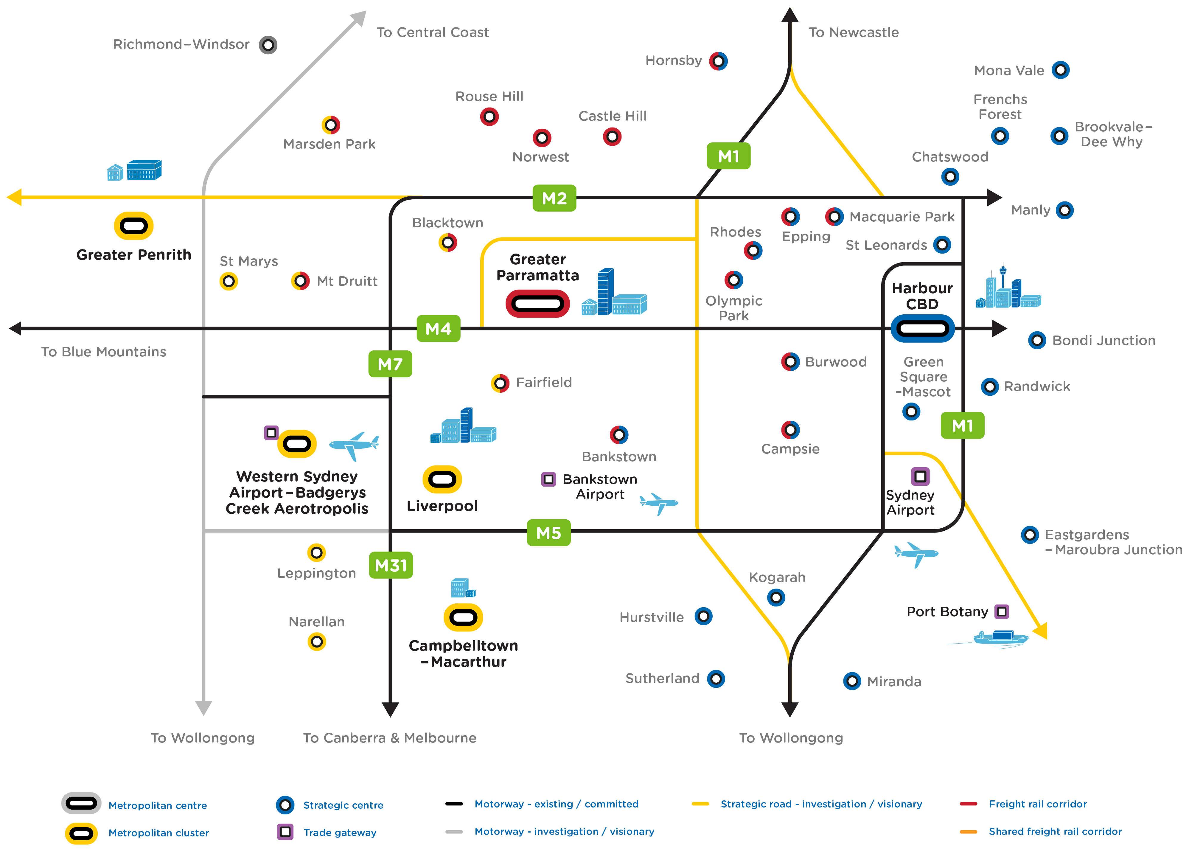 Future Transport map outlining the strategic road vision network showing connections between metropolitan centres, metropolitan clusters, strategic centres and trade gateways.