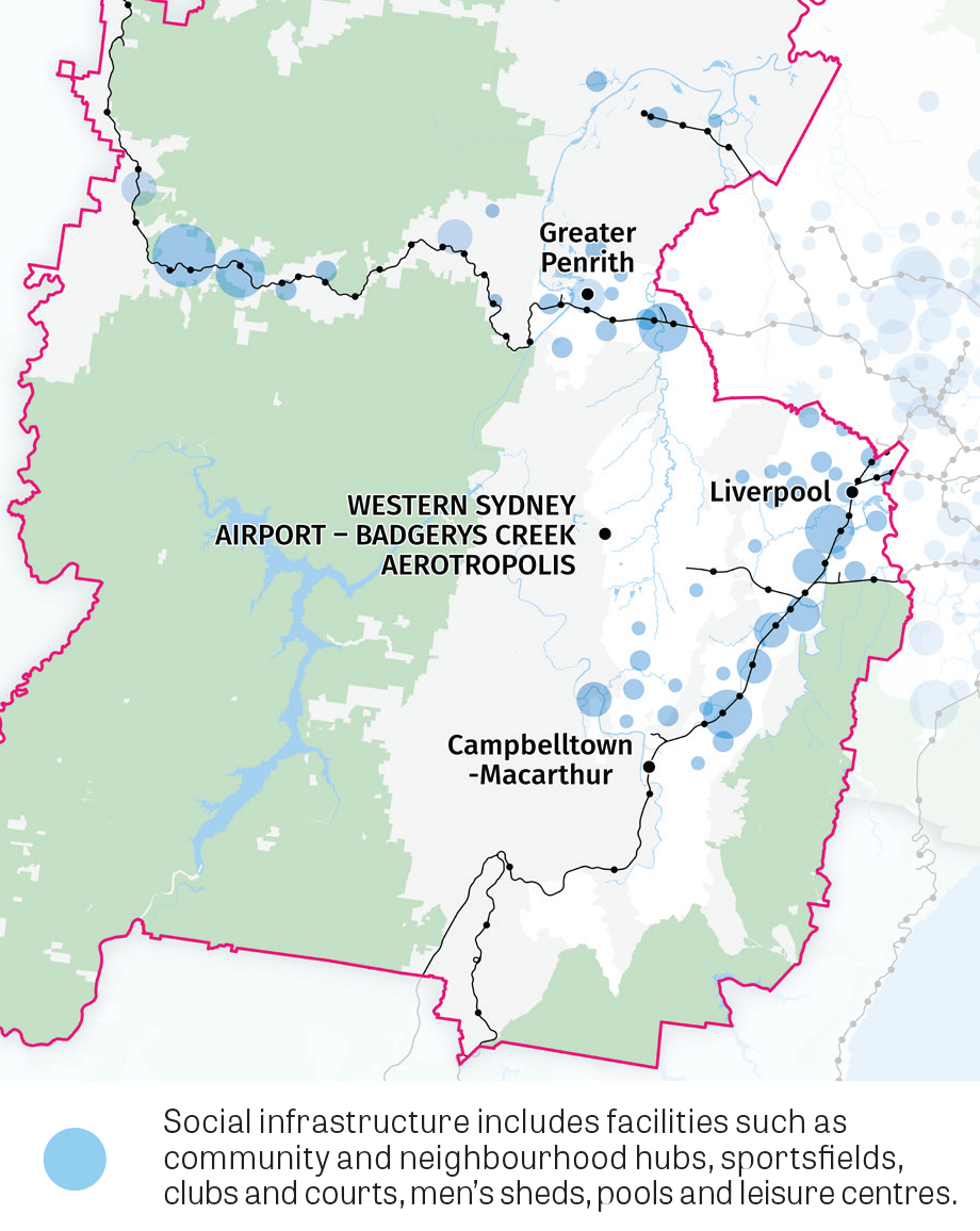 This map shows centres in the District with concentrations of social infrastructure including facilities such as community and neighbourhood hubs, sportfields, clubs and courts, men's sheds, pools and leisure centres.