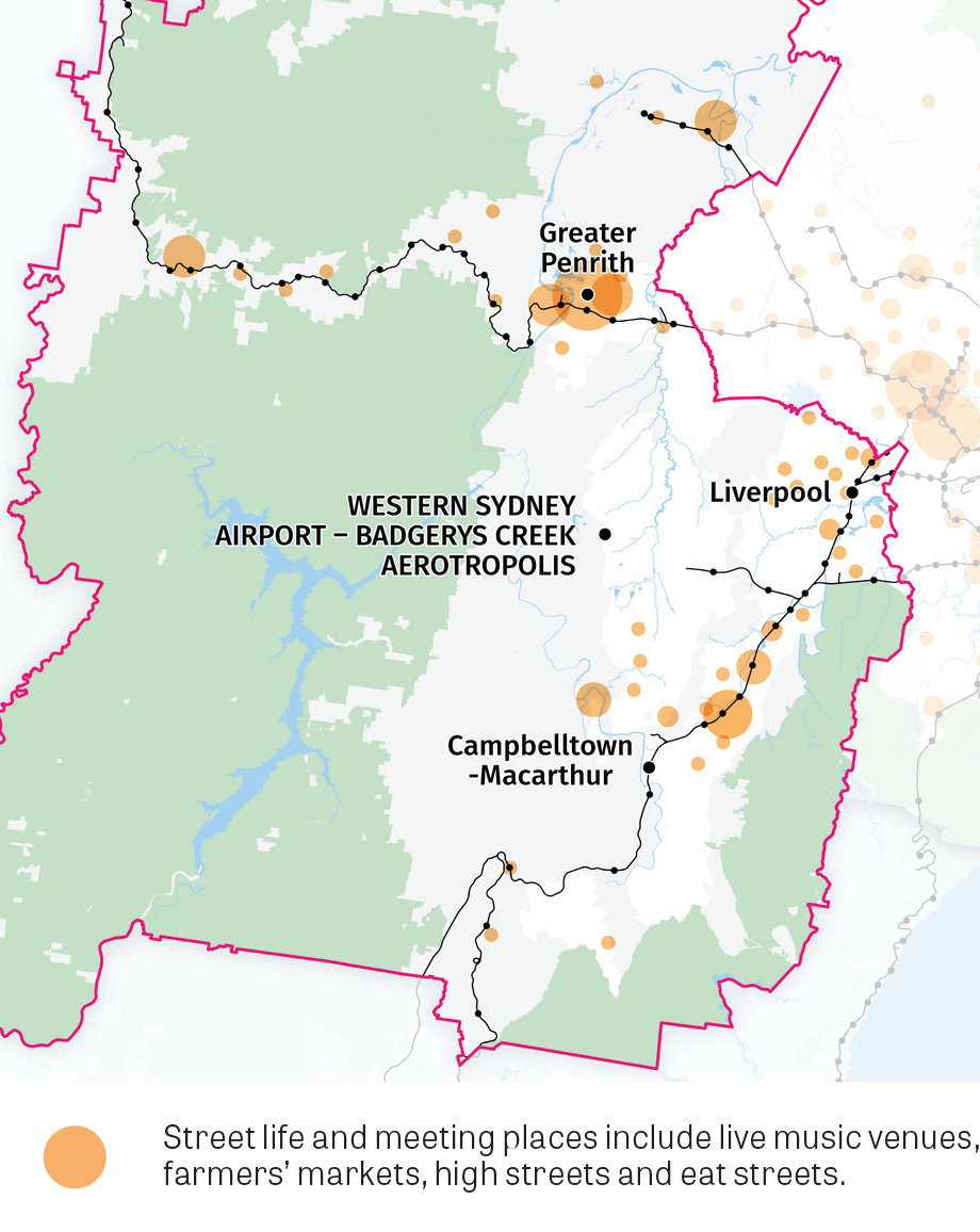 This map shows centres in the District with concentrations of street life and meeting places including live music venues, farmer's markets, high streets and eat streets.