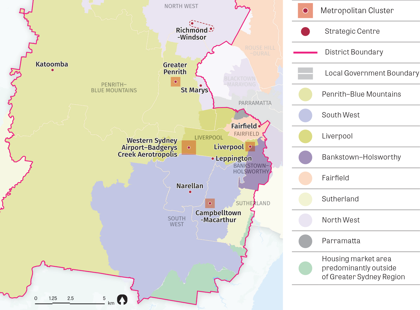 Map showing Western City District housing market demand areas.  Source: Greater Sydney Commission, 2016 adapted from Implementing metropolitan planning strategies: taking into account local housing demand. Technical report (2013).