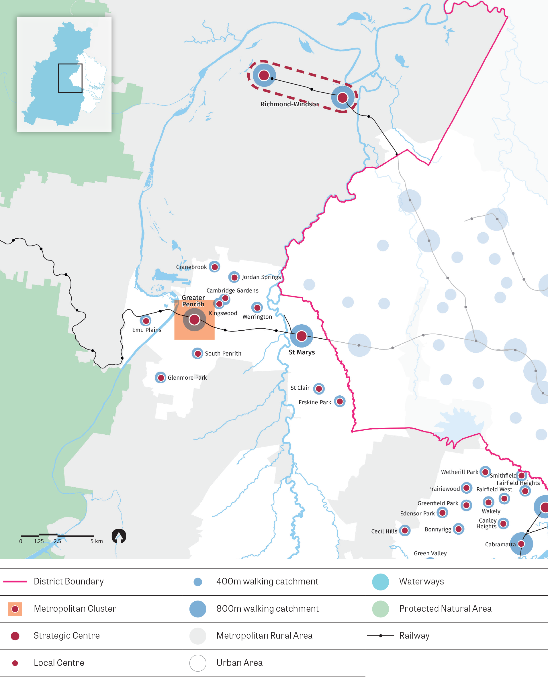 """""""Figure 13:  Map of Western City District (north) – centres.  This map illustrates the approximate 5 minute walking catchment around local centres serviced by local transport and the approximate 10 minute walking catchment around a centre focused on a mas"""