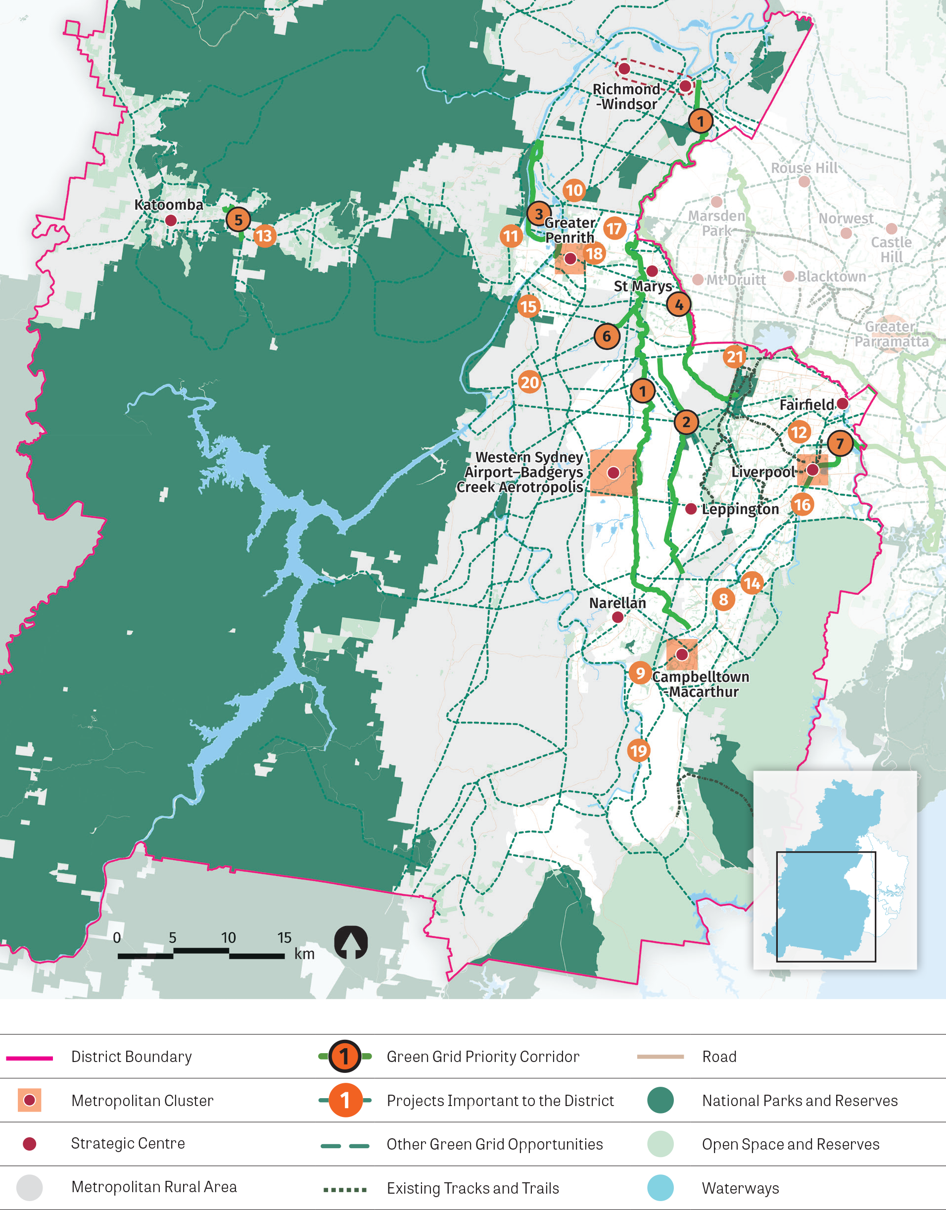 Map of Western City District Green Grid opportunities