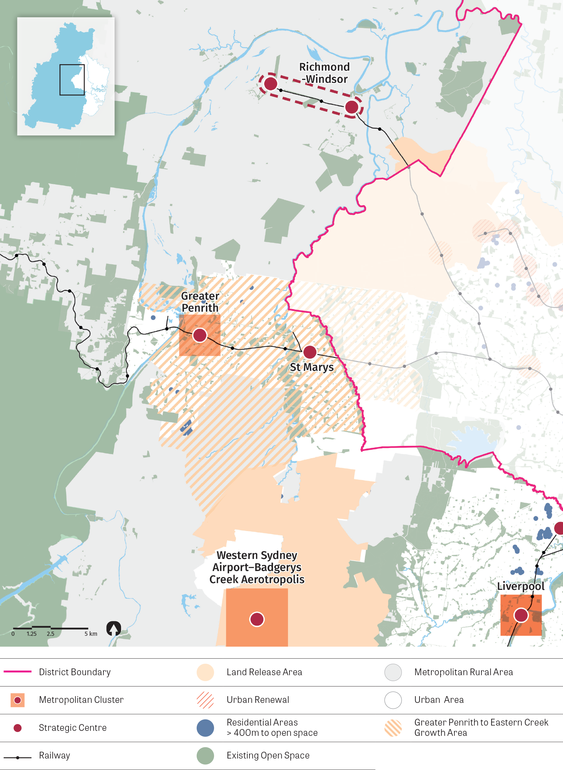 """""""Figure 25: Map of Western City District (north) access to open space.  Source: Greater Sydney Commission, 2016, Greater Sydney Public Open Space Audit."""""""