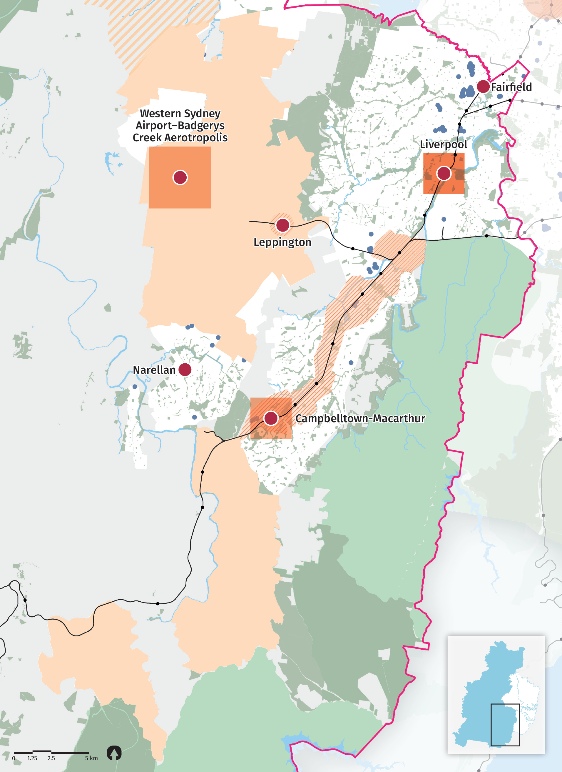 """""""Figure 26:  Map of Western City District (south) access to open space.  Source: Greater Sydney Commission, 2016, Greater Sydney Public Open Space Audit, December 2016."""""""