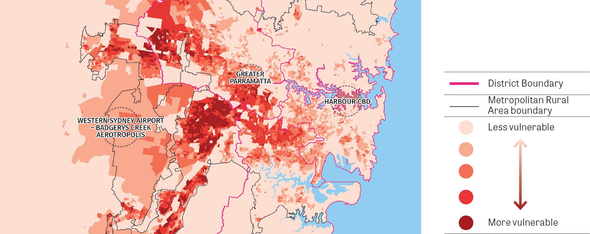 """Figure 27:  Map showing Vulnerability to heatwaves. Source:  Australian Bureau of Statistics Socioeconomic Index For Areas (2011) & CSIRO Landsat 5 LST (Land surface temperature) for 02/02/2011 (2011). Analysis by Kinesis (2016)."""