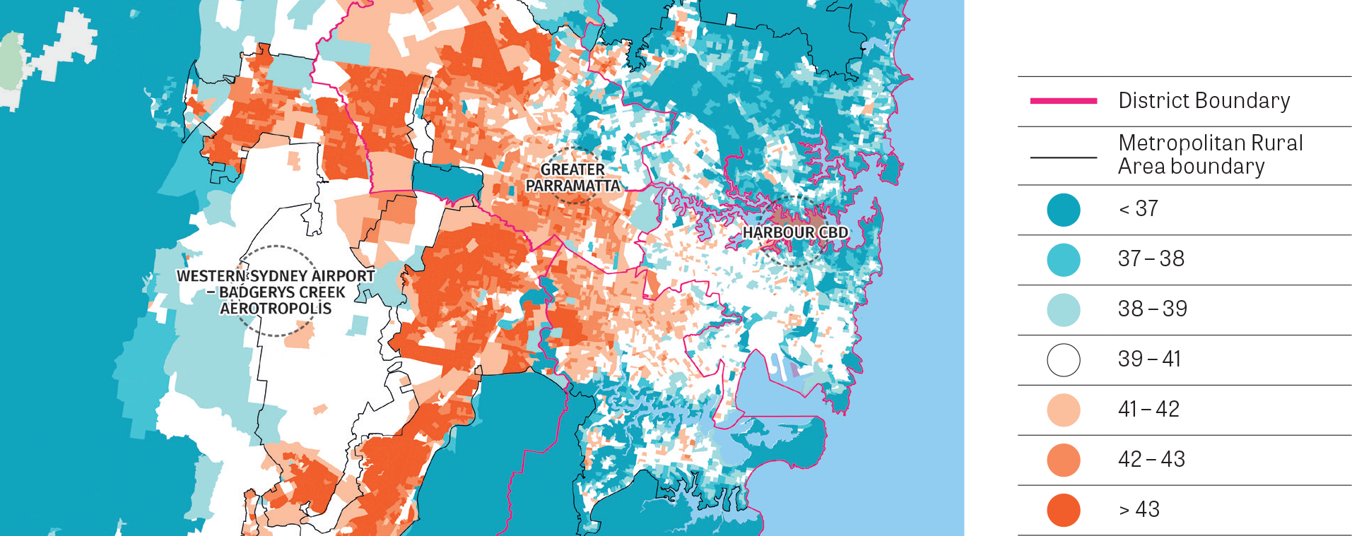 A stylised map focussed on the main urban areas in the Greater Sydney Region showing the percentage of tree canopy cover at year 2011.
