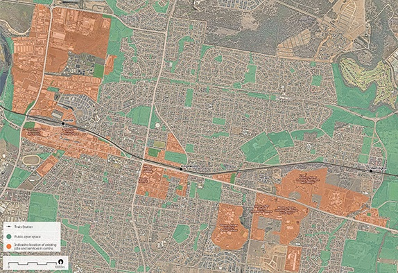 """""""An aerial photo of Greater Penrith.   Data sources: Public open space – Sydney Open Space Audit (DPE 2016), aerial photo – Nearmap 2018."""