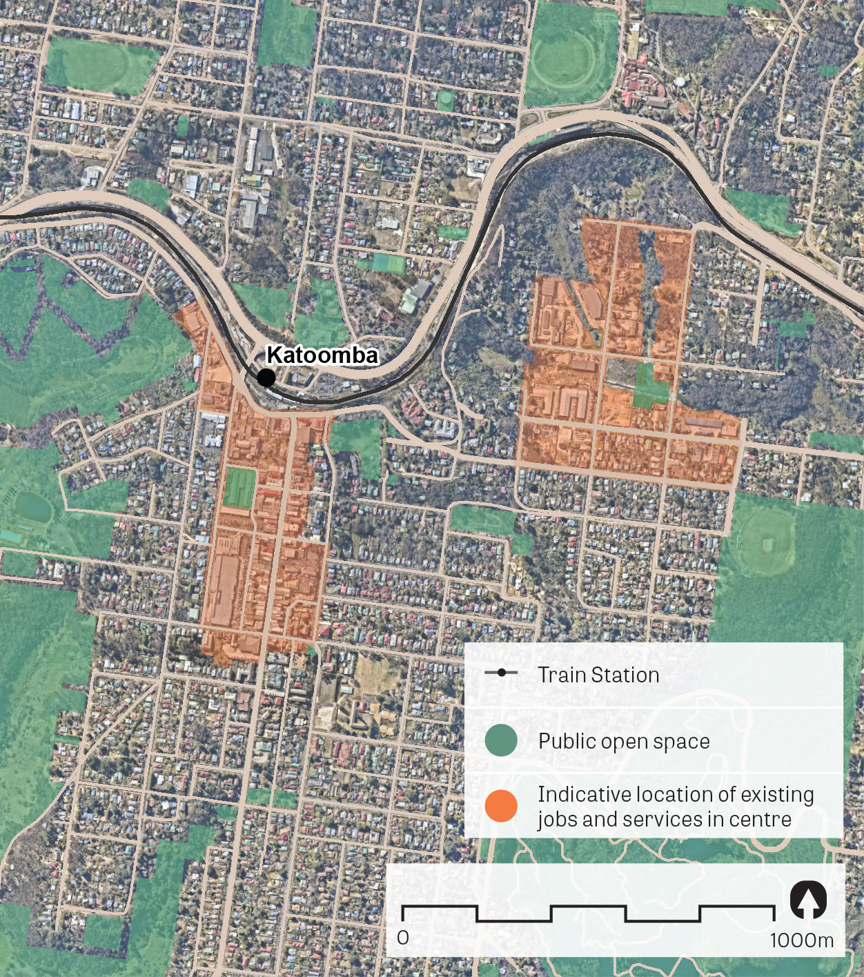 """""""An aerial image of Katoomba.  Data sources: Public open space – Sydney Open Space Audit (DPE 2016), aerial photo – Nearmap 2018."""""""