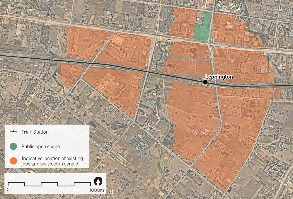 """An aerial image of Leppington.  Data sources: Public open space – Sydney Open Space Audit (DPE 2016), aerial photo – Nearmap 2018."""