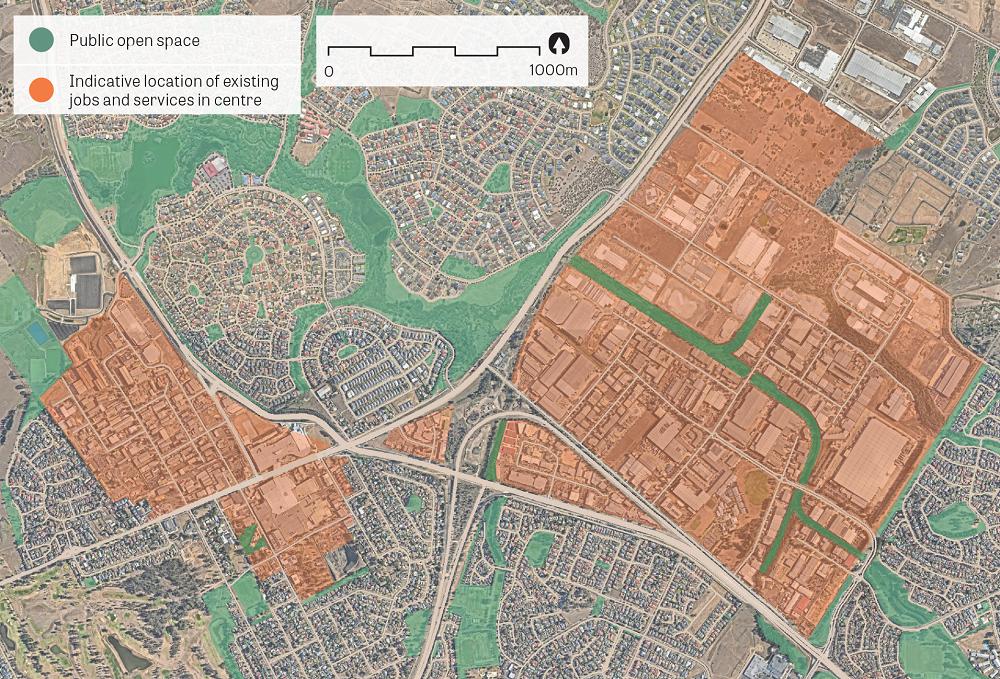 """An aerial image of Narellan.  Data sources: Public open space – Sydney Open Space Audit (DPE 2016), aerial photo – Nearmap 2018."""