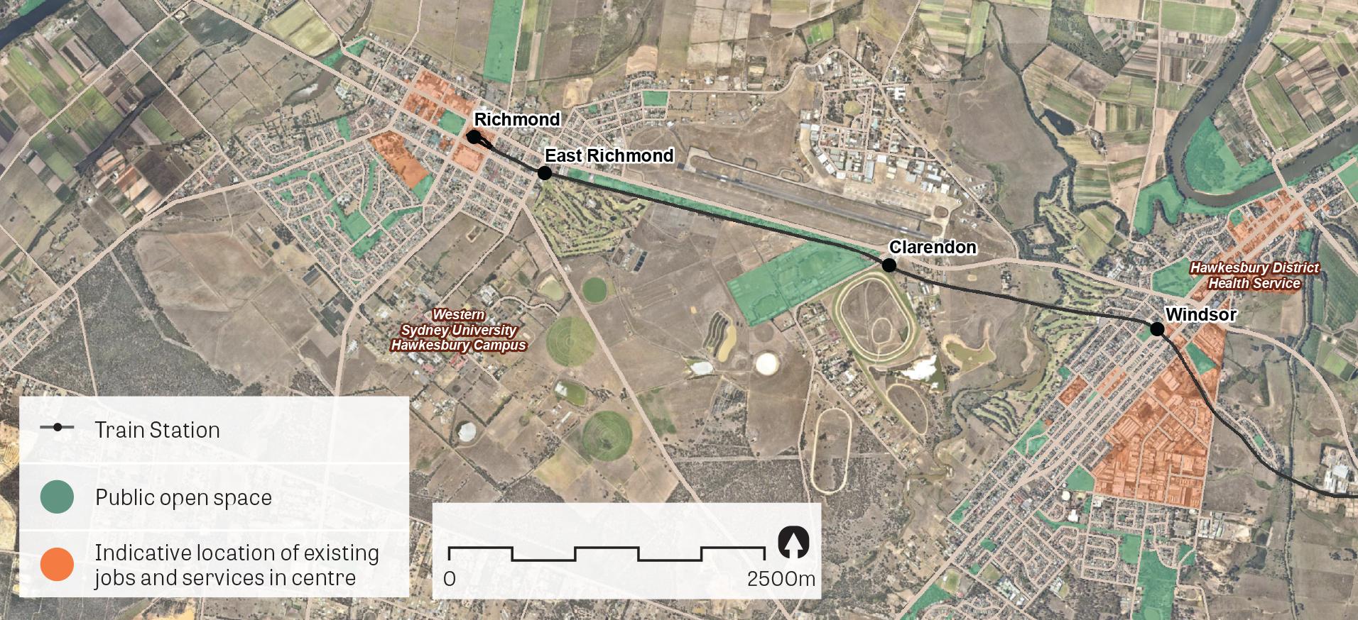"""An aerial image of Richmond-Windsor.  Data sources: Public open space – Sydney Open Space Audit (DPE 2016), aerial photo – Nearmap 2018."""