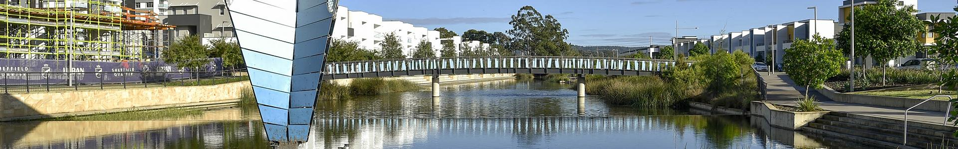 Lake and bridge in Thornton, Penrith