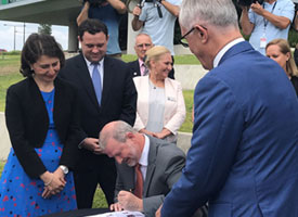 Gladys Berejiklian and Malcolm Turnbull witness the signing of the Western Sydney city deal